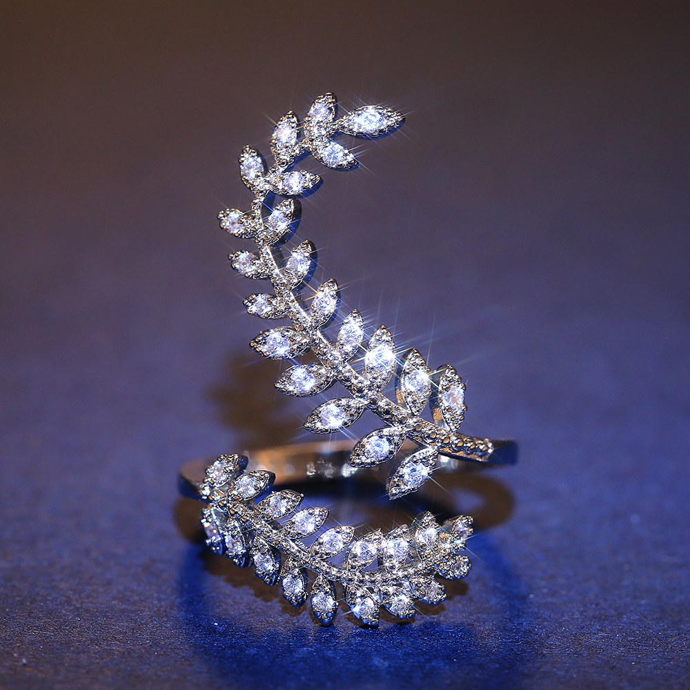 Huitan New Arrival Fashion Leaf Opening Ring for Women Wedding Party Delicate Finger Ring Cubic Zirconia Adjustable Ring Jewelry