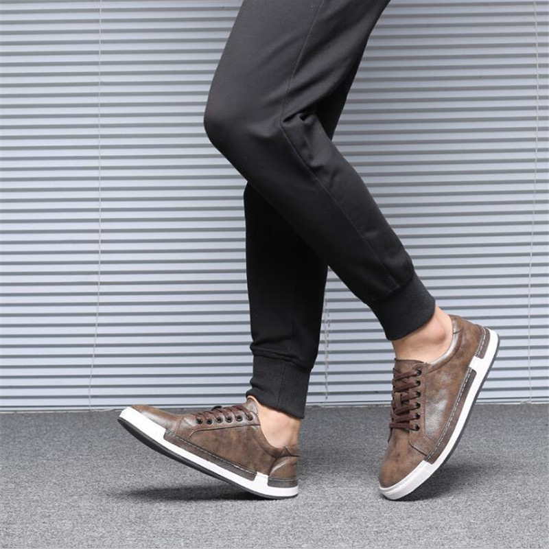 Di lusso di Qualità Degli Uomini di Scarpe di Cuoio Casual Nero Scarpe Da Uomo Inghilterra Tendenza di Autunno della Molla Merlettano in su Gli Uomini Classico Scarpe Da Ginnastica di Moda Size47 - 2