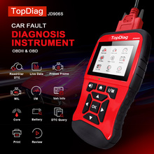 TopDiag OBD2 Car Fault Diagnostic Instrument Color Large Screen HD Display Scanning Code Card Battery Test Six Languages