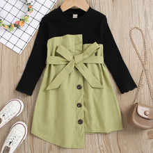 Long Sleeve Autumn Winter Dresses for Girls Knitted Dress with Belt Patchwork Button Dresses Girls Clothes Warm Kids Dresses