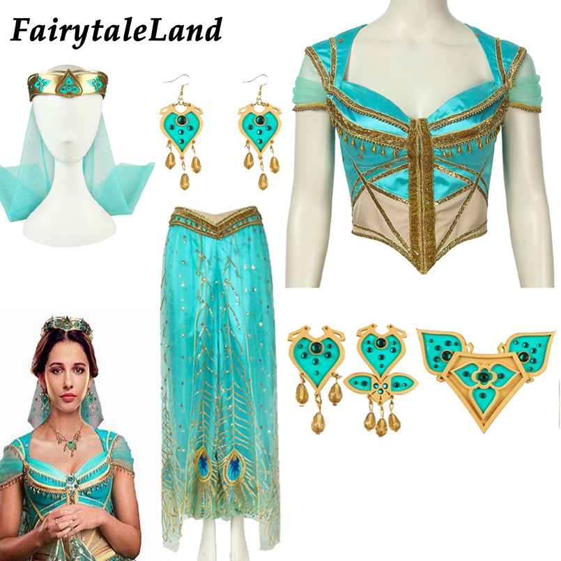 Aladdin Princess Of Agrabah Jasmine Cosplay Costume Accessories Top Princess Jasmine Pants Outfit Dress Suit Veil Decoration