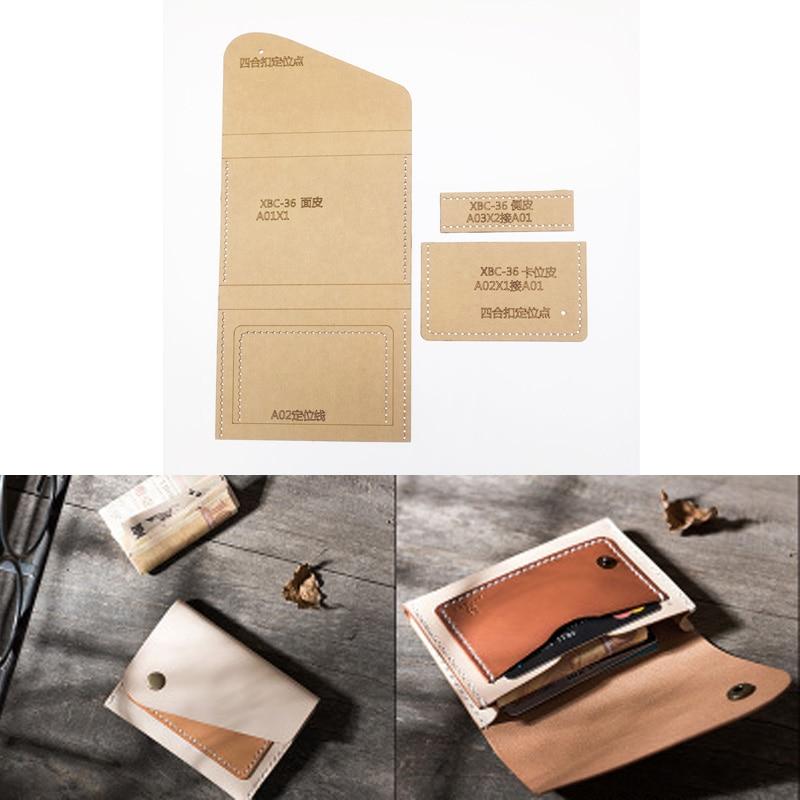 1set DIY Leather Handmade Craft Women Handbag Wallet Purse Sewing Pattern Hard Kraft Paper Stencil Template 120x80mm