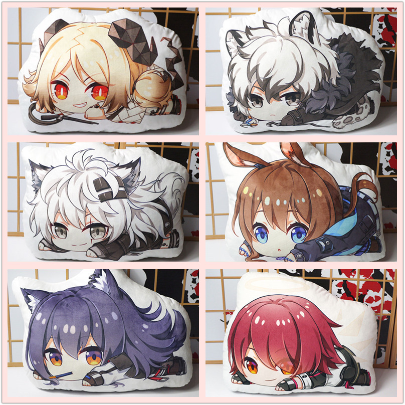 Arknights Pillow Toy Game Texas Exusiai Lappland SilverAsh Ifrit Stuffed Plush Doll Double Sided Case 45cm For Gift