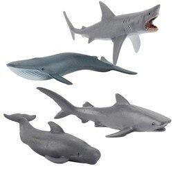 4 шт. мини моделирование модель морской жизни украшения Bule КИТ Акула животная модель Коллекция детская ранняя развивающая познавательная и...