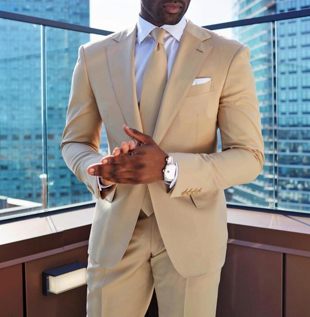 2020 Beige Mens Suit Formal Business Notch Lapel Solid Regular Tuxedos Groomsmen For Wedding Customizable (Blazer+vest+Pants)