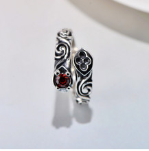 925 sterling silver retro pattern red zircon totem ring popular male silver ring