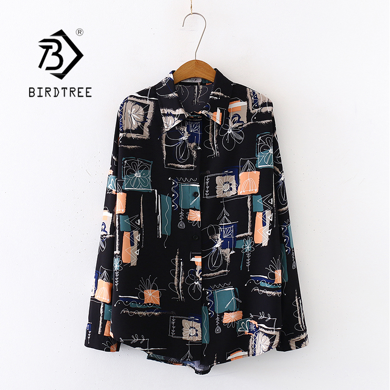2020 Summer New Women Painting Print Chiffon Blouse Autumn Long Sleeve Black Shirt Vintage Oversize Tops Casual Feminina Blusa T