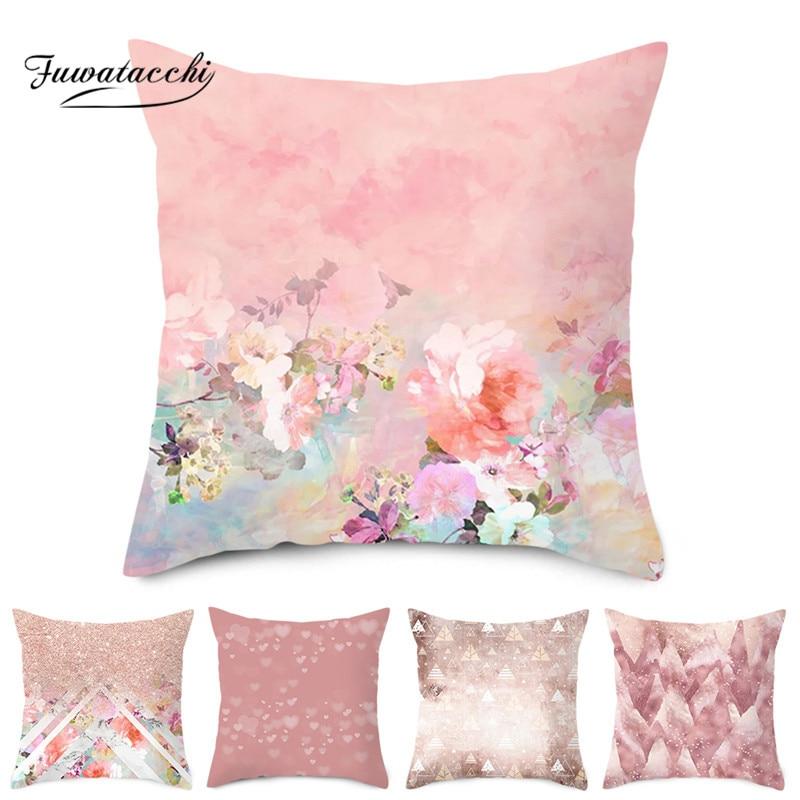 Fuwatacchi Pillow Cover Rose Gold Geometric Flower Glitter Polyester Sofa Decor Cushion Cover For Home Pliiowcase 45x45cm