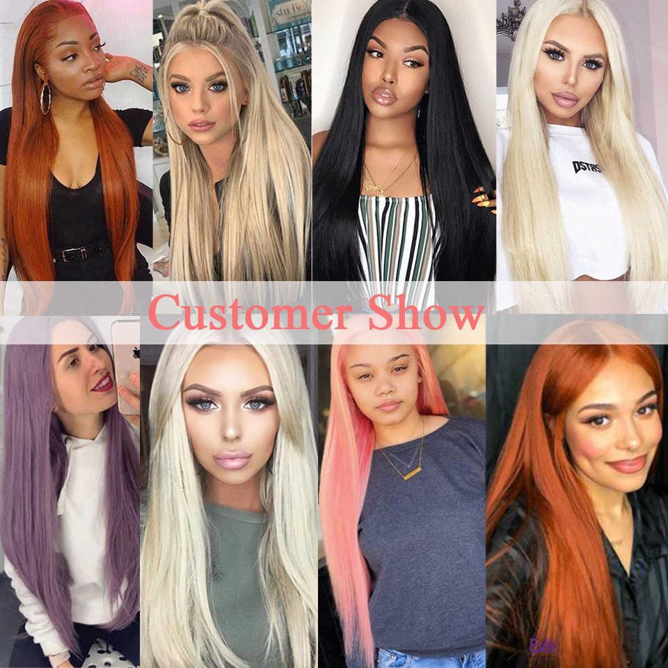 Leeven peluca con malla frontal recta larga y sedosa para mujeres negras, 613 pelucas de pelo de bebé Rubio gris, pelo de Cosplay de cobre rosa, pelucas sintéticas