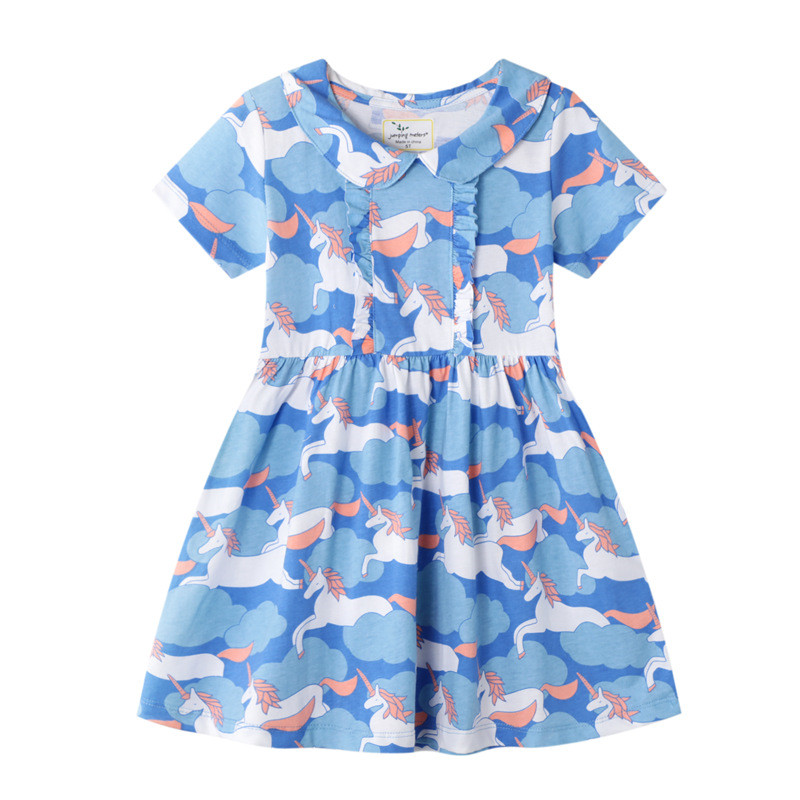Jumping Meters Princes Party Tutu Dresses Summer Collar Unicorns Baby Clothes Hot Selling 2020 Kids Tunic Animals Girls Dresses