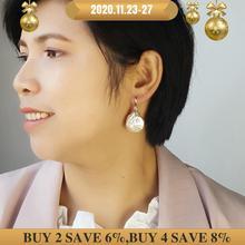 LiiJi boucles doreilles uniques pour femmes, véritable blanc/rose, en forme de pièce de monnaie, perle Baroque, goutte de 20 21mm, livraison directe