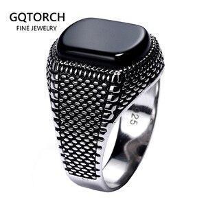 Image 1 - ตุรกีเครื่องประดับสีดำแหวนผู้ชาย น้ำหนัก6G 925เงินสเตอร์ลิงแหวนบุรุษแหวนหินธรรมชาติVintage coolแฟชั่น