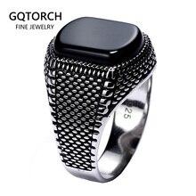 טורקיה תכשיטי שחור טבעת גברים אור משקל 6g אמיתי 925 סטרלינג כסף Mens טבעות טבעי אגת אבן בציר מגניב אופנה