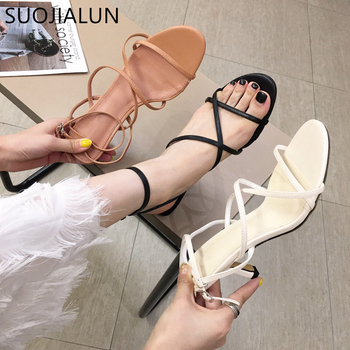 SUOJIALUN 2020 Fashion Ankle Strap High Heels Women Sandals Open Toe Chunky Thin Heel Party Dress Shoes Narrow Band Summer Beach