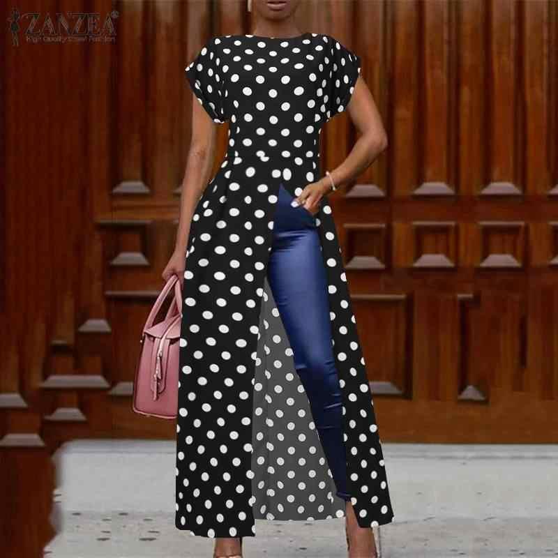 Zanzea moda verão manga curta polka dot blusa elegante feminina alta divisão camisa longa festa túnica topos robe ol vestidos