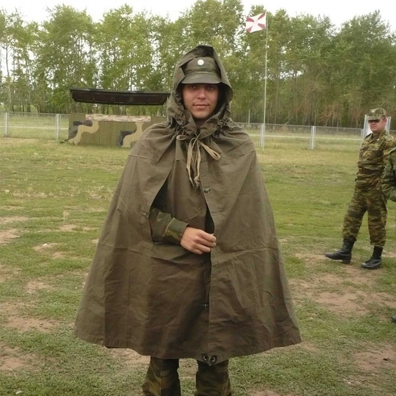 Soviet Russian Army WWII Uniform Cape Tent WWII Type Soldier Field Canvas Cloak Raincoat Poncho