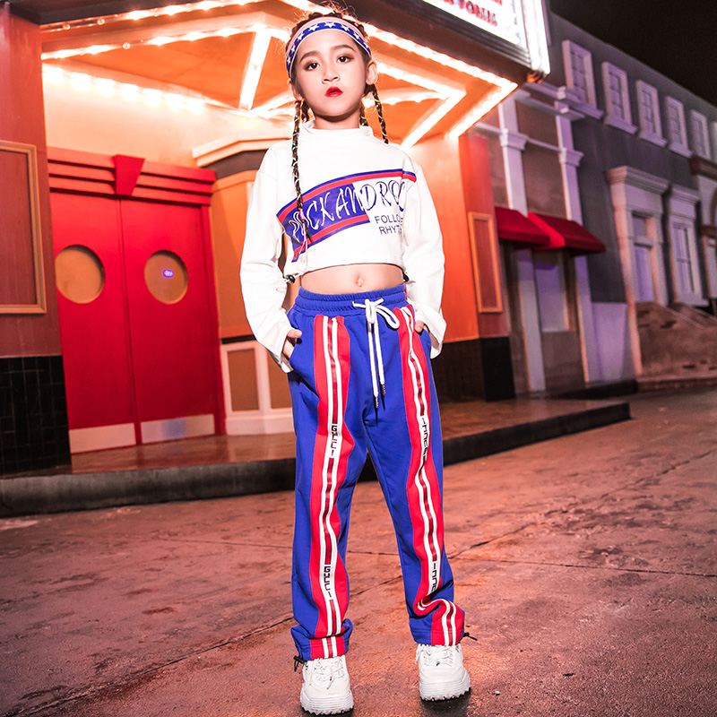 Hip Hop Costumes Kids Jazz Long Sleeve Tops Cheerleading Clothing Girls Street Dance Rave Outfit Performance Wear Child DN4104