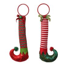 2x Christmas Elf Boots Striped Shoes Ornaments Hanging Pendant Xmas Tree Decorations for Home New Year Gifts