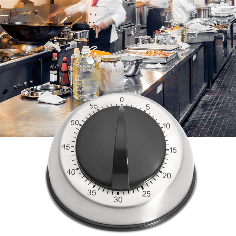 1pc Stainless Steel Dome Shape Kitchen Timer 60 Minutes Countdown Mechanical Wind Up Alarm Clock Home Kitchen Cooking Tools