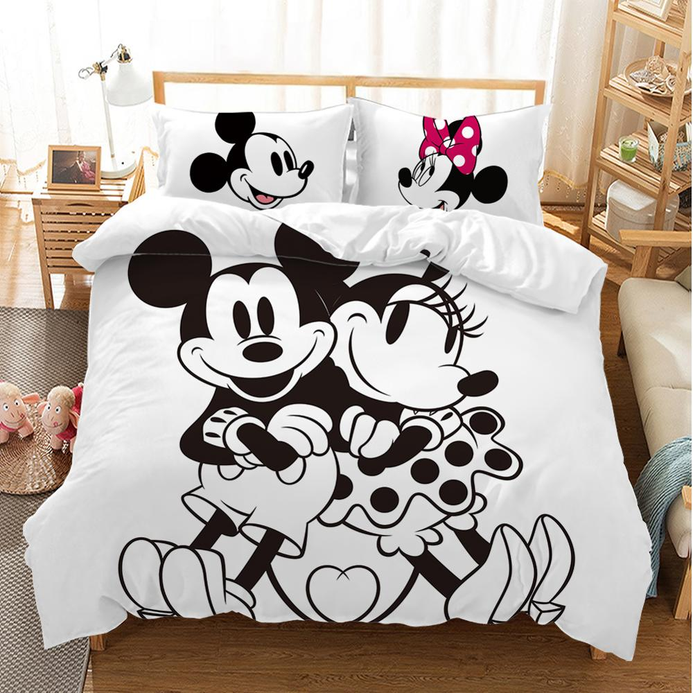 Mickey Mouse Bedding Set Christmas Gift Soft <font><b>Home</b></font> <font><b>Textiles</b></font> Bedroom Twin Double Queen King size Children Couple Student bed set image