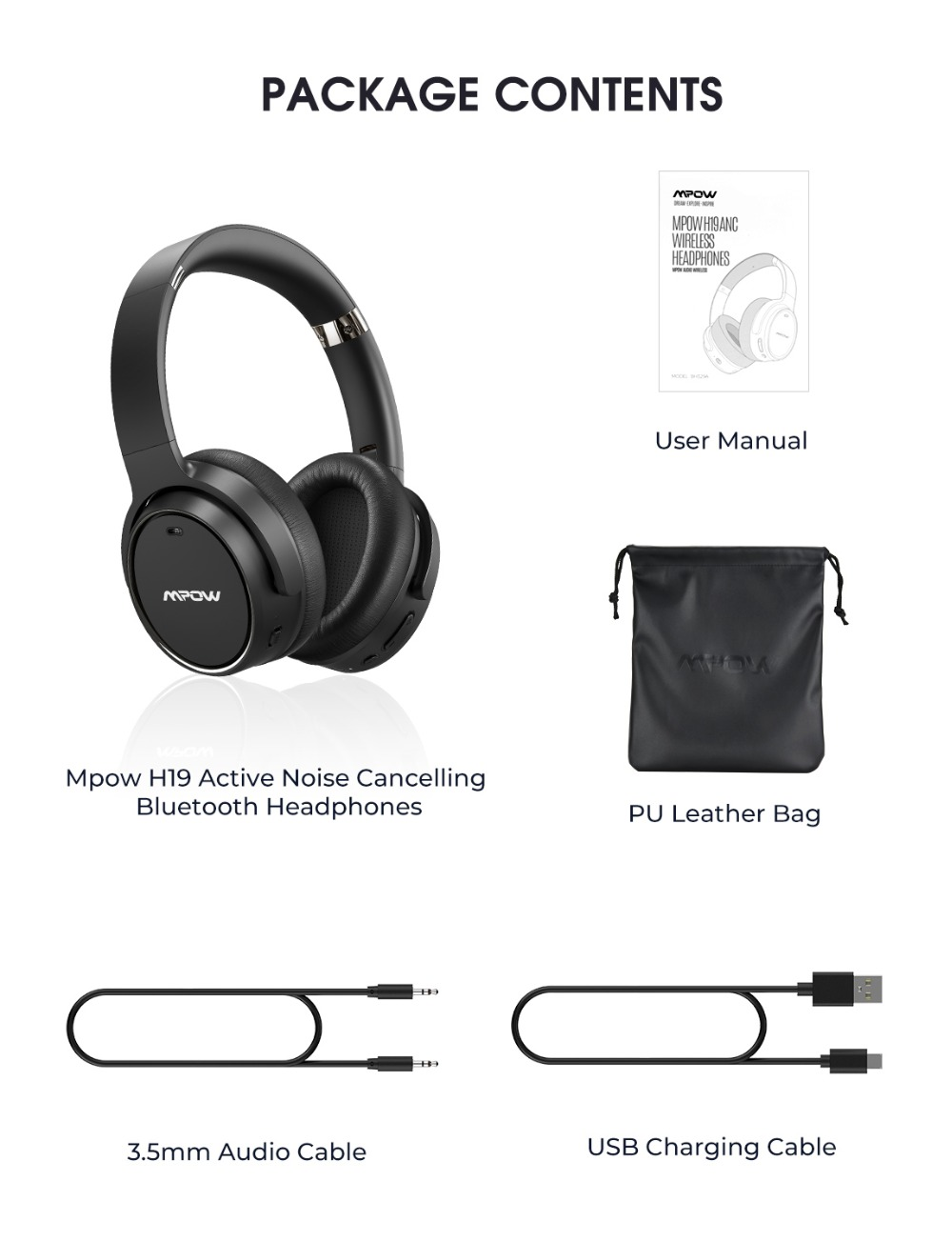 Mpow H19 Wireless Headphones ANC Bluetooth 5.0 Headphone 30H Playing Time Active Noise Cancelling Headset Deep Bass For Computer (6)