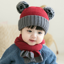цена на HT2732 Baby Hat Scarf Set Toddler Autumn Winter Knitted Hat and Scarf Little Boys Girls Winter Accessories Baby Beanie Hat Scarf