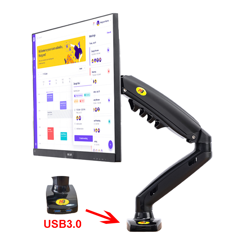New F80 Gas Spring 17-27 Inch Desktop LED LCD Monitor Mount Holder Arm Ergonomic Gas Strut Flexi Mount Load 2~9kgs