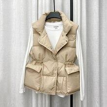 Winter Single Breasted Light Down Short Vest Jacket Women White Coat Waist Retractable Pocket Sleeveless Outwear