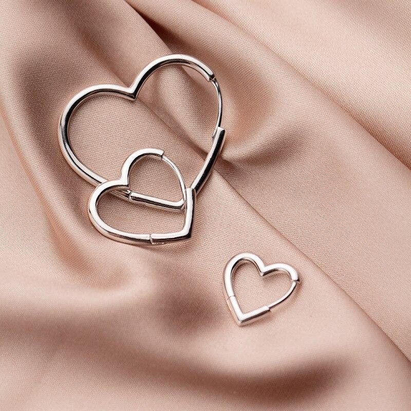 Trusta serce kolczyki 925 srebro serce Hoop geometryczne Ear Cuff klip na kolczyki dla kobiet dziewczyna Piercing DS2434