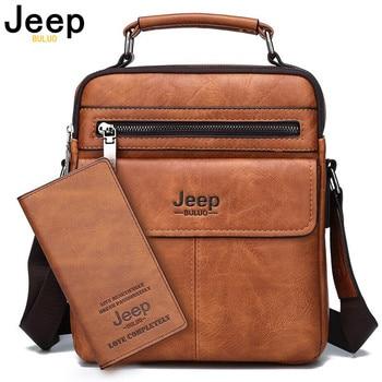 Bolsos de hombro tipo bandolera para hombre de la marca JEEP BULUO, Tote de alta calidad, bolso de mensajero para hombre de negocios a la moda, bolsos de cuero divididos de gran tamaño