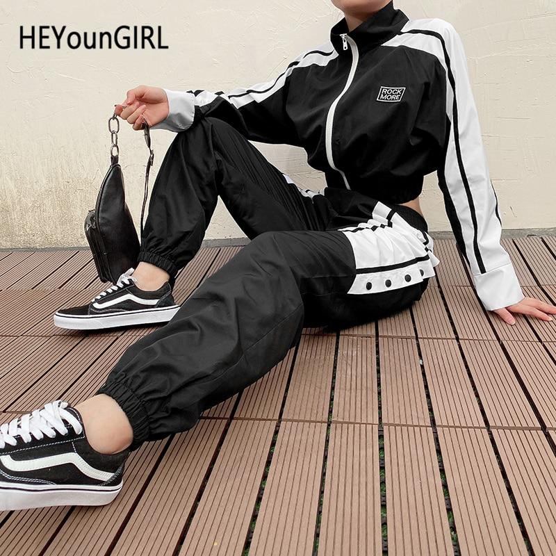 HEYounGIRL Buttons Split Casual Sweatpants Women Harajuku Elastic High Waist   Pants     Capri   Patchwork Black Harem Trousers Ladies