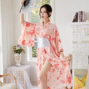 Japoński Sakura kobiet Kimono sukienki Obi dla kobiet Kawaii Yukata seksowna długa suknia damski, w kwiaty szyfonowa japonia styl piżamy Party