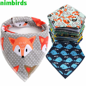 Baby Bibs Triangle scarf Cotton Cartoon Child Baberos Bandana Bib Babador Dribble Bibs Newborn Slabber Absorbent Cloth Bib(China)