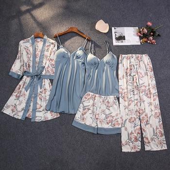 2020 Winter Autumn Women Satin Pyjama Set Sexy Silk Pajamas Sleepwear Night Suits Soft Nightwear Home Clothes With Chest Pads 1