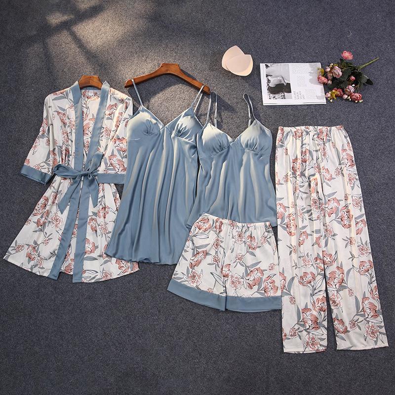 2020 Winter Autumn Women Satin Pyjama Set Sexy Silk Pajamas Sleepwear Night Suits Soft Nightwear Home Clothes With Chest Pads