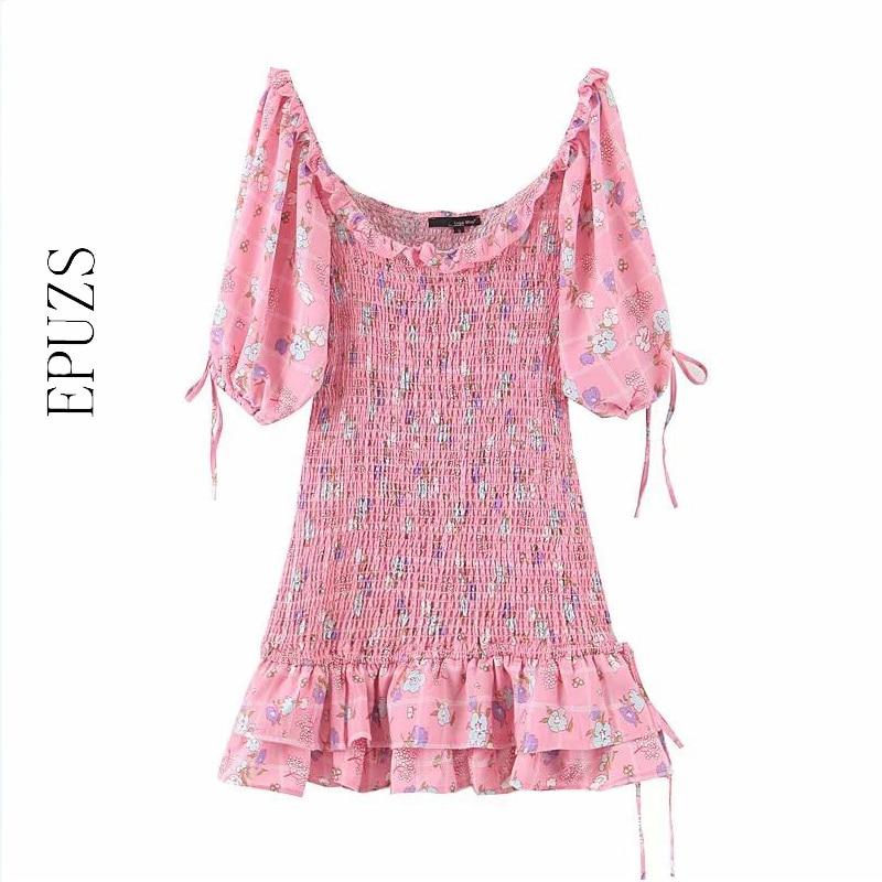 Sweet Floral Print Pink Mini Dress Women Elegant Ruffle Dress Vintage Elastic Waist Puff Sleeve Party Dresses Winter Vestidos