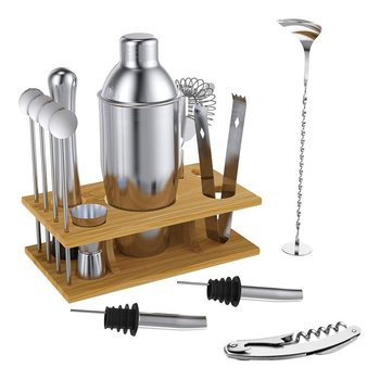 14pcs 304 Stainless Steel Bartender Cocktail Bartender Tool Stainless Bar Cocktail Shaker Set Barware Kit фото