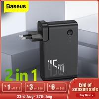 Baseus-cargador de batería 2 en 1, 10000mAh, GaN, PD, QC 3,0, AFC, carga rápida, USB, para iPhone, Samsung, Macbook Pro