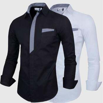 ZOGAA Men's Business Shirt Men Casual Slim Fit Button Down Shirt Patchwork Pocket Long Sleeve Formal Dress Shirts Male Clothing button down long sleeve pocket shirt
