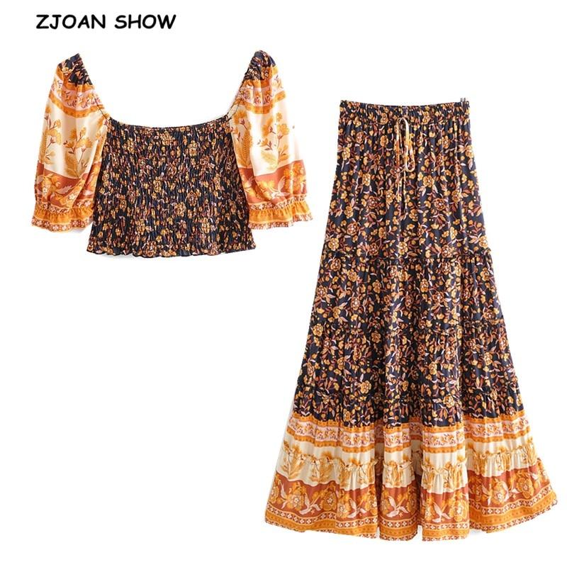 2020 Bohemian Ruched Elastic Slash Neck Tank Top Crop Top Women Elastic Waist Maxi Long Skirt Ruched Camis Holiday 2 Pieces Set