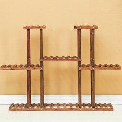 Carbonized Wood odporny na wilgoć antyseptyczny stojak na roślinę doniczkową wielowarstwowy stojak na rośliny półki ogród Patio balkon z narzędzia do sadzenia w Półki dla roślin od Meble na