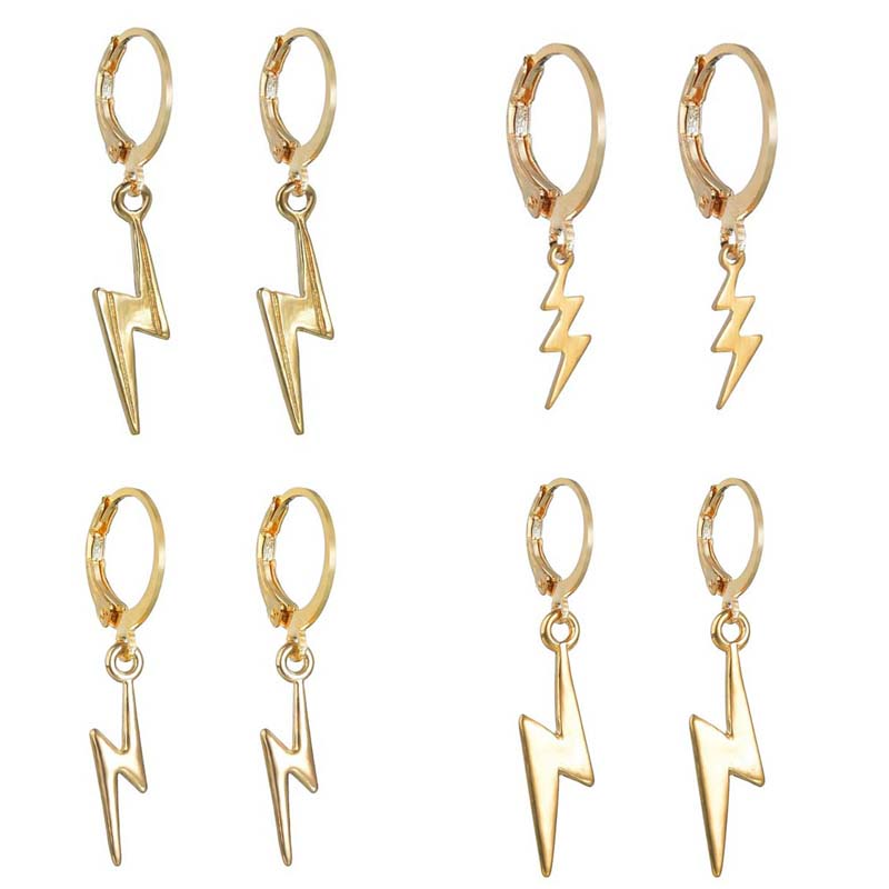 Женские серьги-кольца Lightning, модные минималистичные золотые серьги в стиле панк, серьги-обручи, модные ювелирные изделия, аксессуары, подарк...