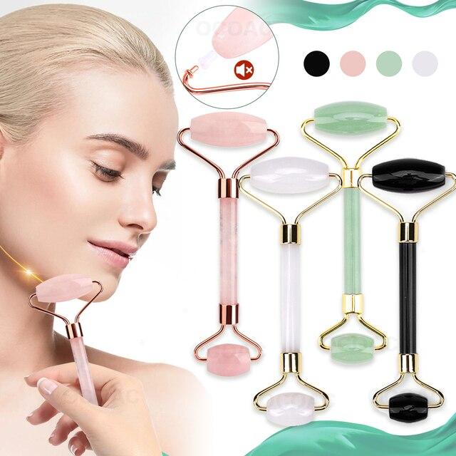 Pedra de jade rolos massageador para rosto rosa rosa quartzo natural pedra emagrecimento queixo levantar facial beleza rolo cuidados com a pele 1