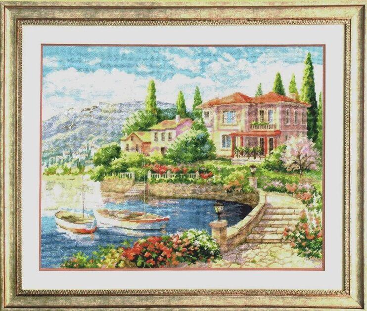 Kit de point de croix degypte | Collection coton or adorable, Kit de point de croix sur la côte, maison maison bateau-bateau de ville 100%