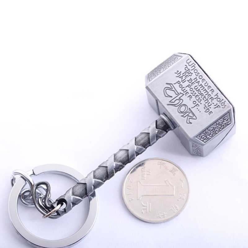 Nowy Pewter brelok zabawka Thor łańcuch klucz z obręczą mężczyzn biżuteria fani akcesoria 1 sztuk Marvel Avengers młot thora Mjolnir brelok