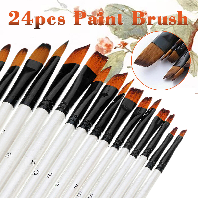 24PCS Artist Nylon Hair Paint Brush Art Acrylic Oil Painting Supplies Drawing Tools