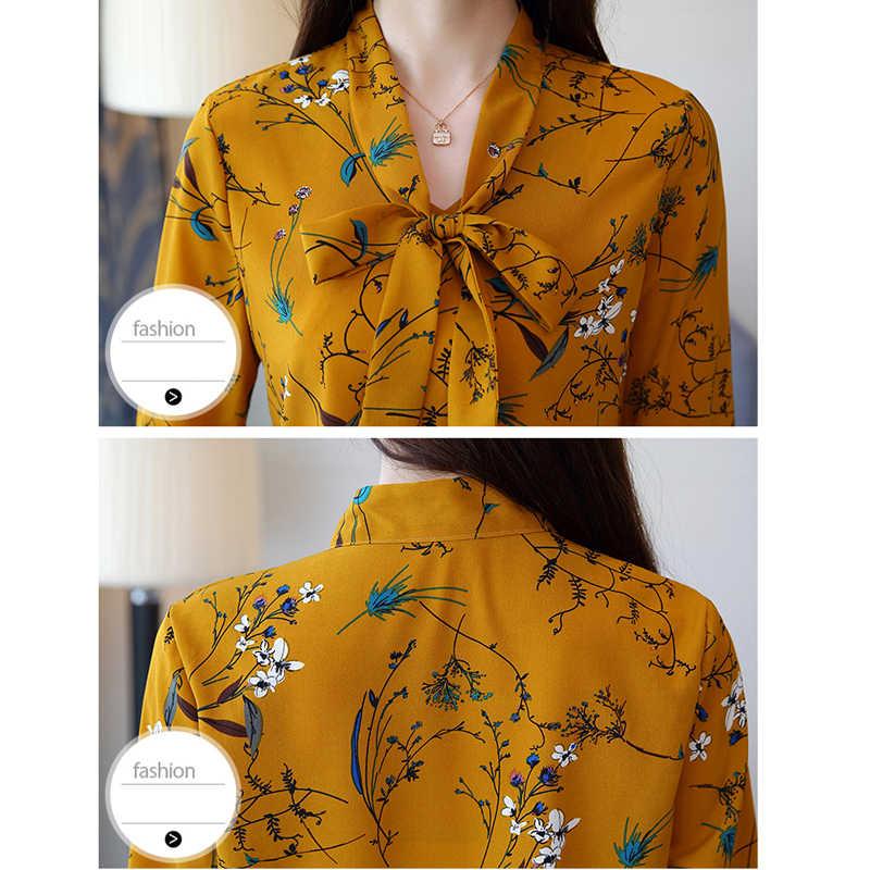 Chiffon Shirt Female Summer 2019 Autumn New V Collar Bow White Printing Chiffon Women Tops Flare Sleeve Blouses Shirt 807A6