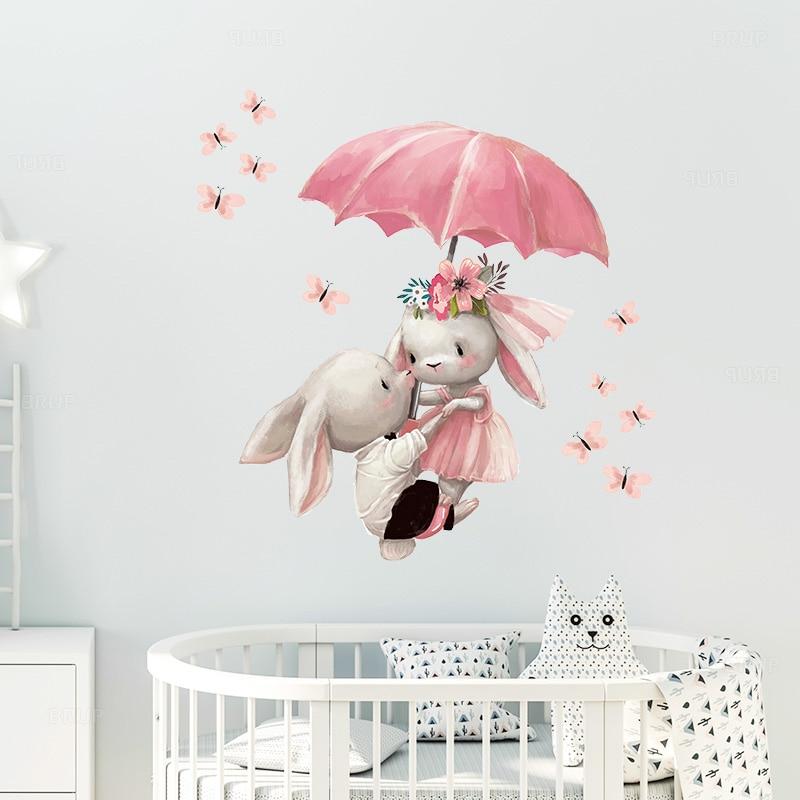 Акварель двойной Банни Летающий с зонтиком настенные наклейки для детской комнаты украшение для детской комнаты Наклейка на стену для дево...