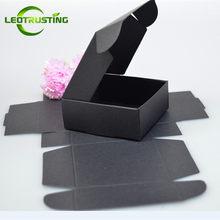Leotrusting-caja de cartón pequeña de color negro para regalo de boda, caja de cartón hecha a mano, Papel negro de jabón, 50 Uds.