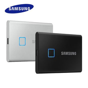SAMSUNG T7 Touch SSD 500GB 1TB 2TB USB3 2 rozpoznawanie linii papilarnych odblokuj przenośny interfejs typu C dysk półprzewodnikowy NVMe tanie i dobre opinie 2 5 USB 3 1 typu C Zewnętrzny Pulpit Laptop Portable SSD T7 TOUCH USB 3 2 Black Silver 500GB 1TB 2TB 3 years limited warranty